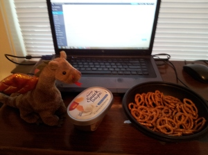 Laptop: check. Snack: check. Dragon: check.