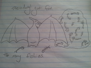 Pterodactyl got fat. Too many fishies.